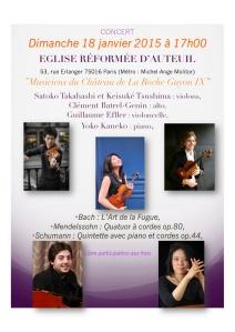 Concert Musiciens du Château de La Roche Guyon 18 janvier 2015 Concert Paris