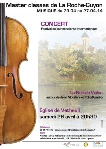 """Festival de jeunes talents internationaux / concert """" La Nuit du Violon à Vétheuil"""" samedi 26 avril à 20h30"""